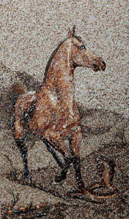 Мозаика из песка и ракушек от Светланы Иванченко