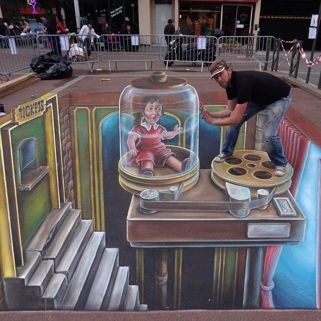 Уличные 3D-рисунки Леона Кира